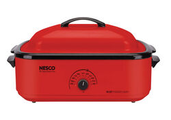 Nesco  Chrome  Red  Porcelain  18 qt. Roaster Oven  12 in. H x 15 in. W x 23.5 in. L
