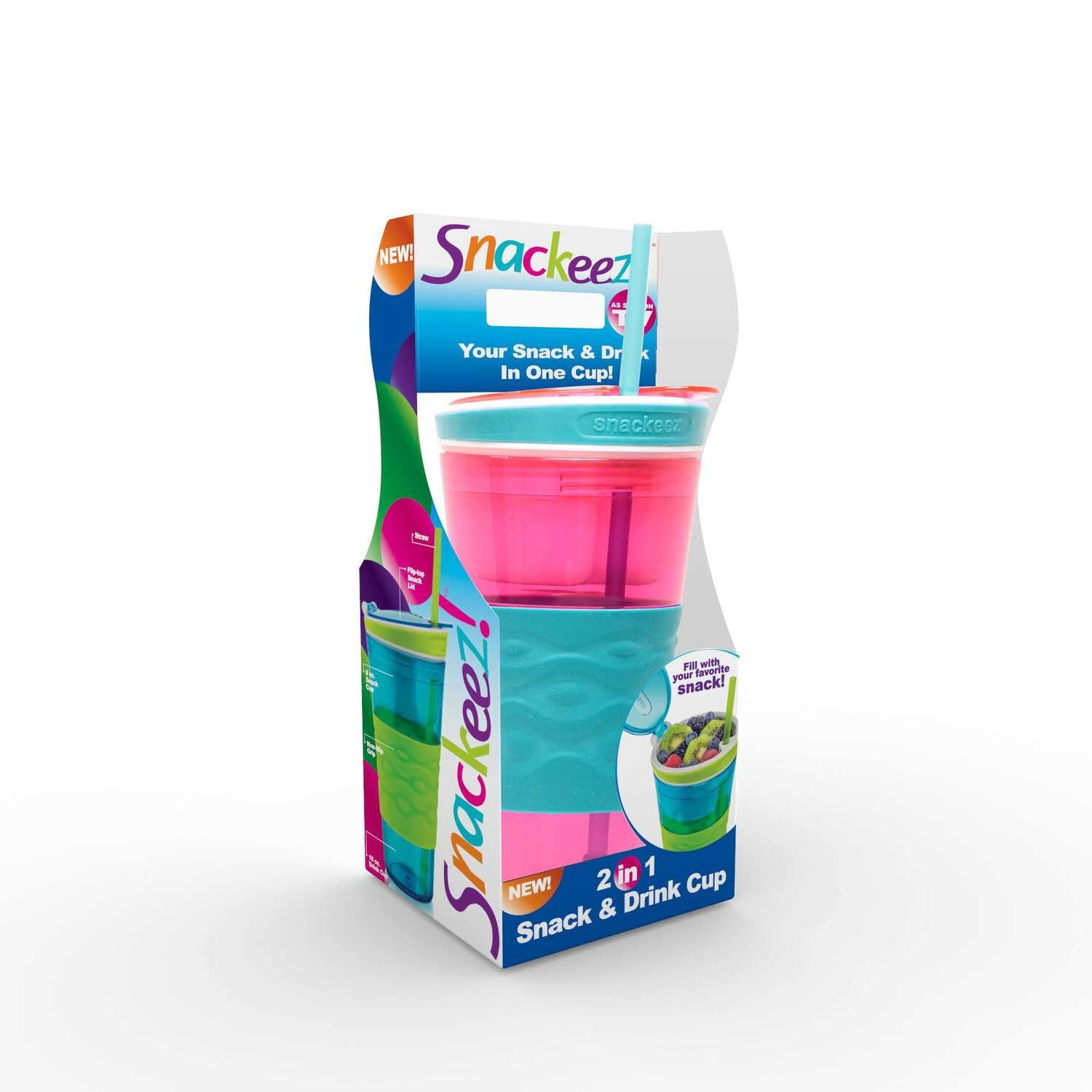 Snackeez  16 oz. Snack and Beverage Holder  Pink