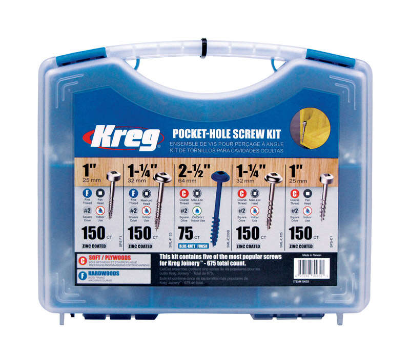 Kreg Tool  No.6, No.7, No.8   x 1 1-1/4 2-1/2 in. L Square  Square Head Pocket-Hole Screw Kit  675 p