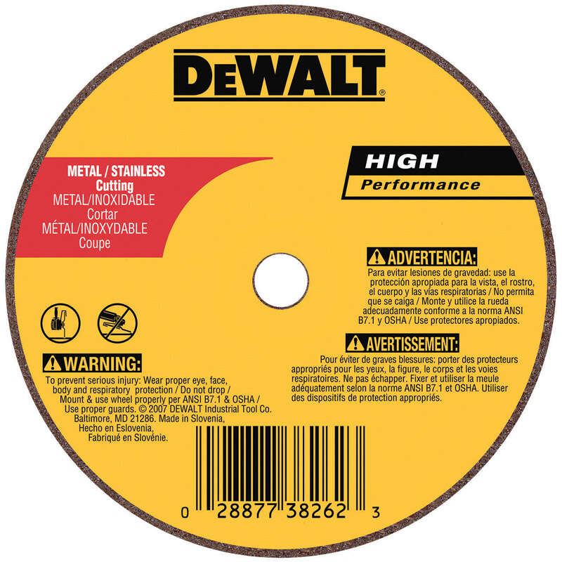 DeWalt  High Performance  3 in. Dia. x 1/4 in. in.  Aluminum Oxide  Cut-Off Wheel  1 pc.