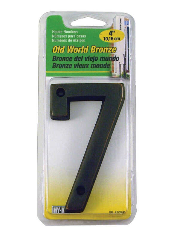 Hy-Ko  4 in. Metal  Bronze  7  Number  Nail-On
