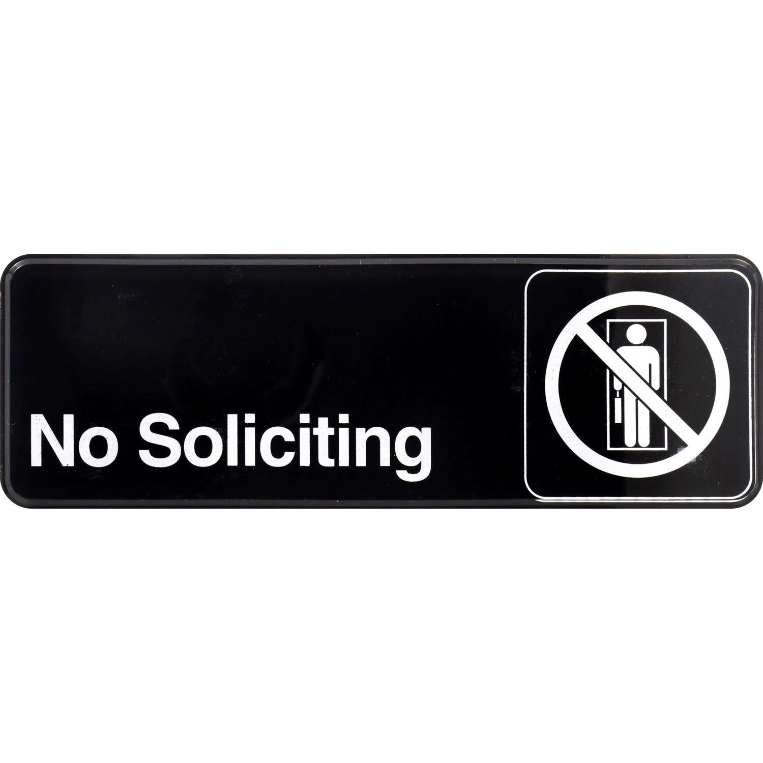Hillman  English  Black  No Soliciting  Plaque  3 in. H x 9 in. W