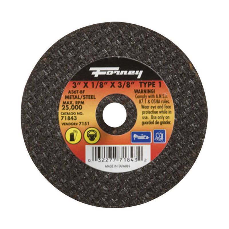 Forney  3 in. Aluminum Oxide  1/8 in.  x 3/8 in.  Metal Cut-Off Wheel  1 pc.