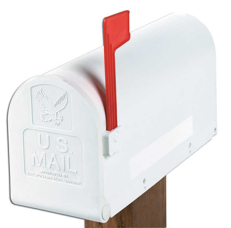 Gibraltar  Deluxe Polybox  Polymer  Post Mounted  White  Mailbox  9-9/16 in. H x 7-7/8 in. W x 19-3/
