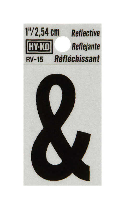 Hy-Ko  1-1/4 in. Vinyl  Ampersand  Special Character  Self-Adhesive  Black  Reflective