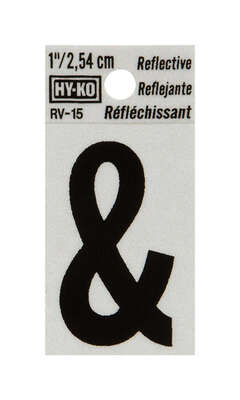 Hy-Ko  1 in. Reflective Black  Vinyl  Self-Adhesive  Special Character  Ampersand  1 pc.