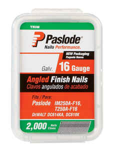 Paslode  20 deg. 16 Ga. Smooth Shank  Angled Strip  Finish Nails  1-1/4 in. L x 0.11 in. Dia. 2,000