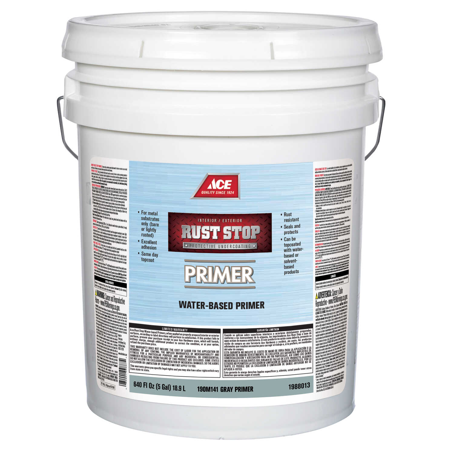 Ace  Rust Stop  Gray  Flat  Primer  5 gal. Acrylic Latex  For Clean Metals