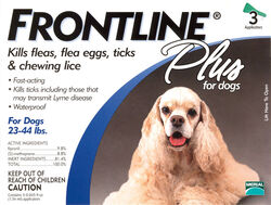 Frontline  Plus  Liquid  Dog  Flea and Tick Drops  9.8% Fibronil, 8.8% (S)-methoprene  0.05 oz.