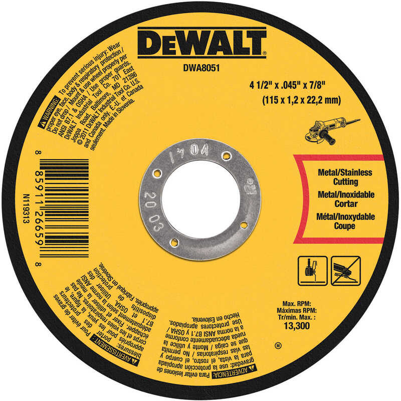 DeWalt  4 in. 5/8 in. in.  Aluminum Oxide  Metal Cut-Off Wheel  1 pc.