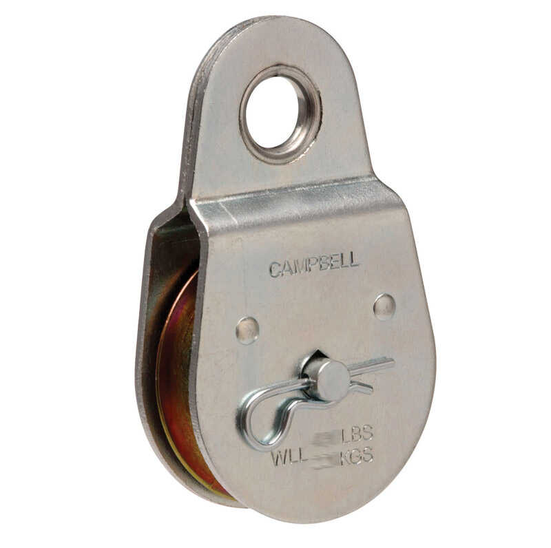 Campbell Chain  2-1/2 in. Dia. Zinc Plated  Steel  Fixed Eye  Single Sheave Rigid Eye Pulley