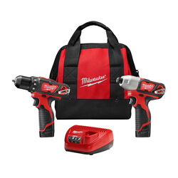 Milwaukee M12 12 volt Cordless Brushed 2 tool Drill and Impact Driver Kit