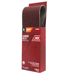 Ace  16 in. L x 2-1/2 in. W Aluminum Oxide  Sanding Belt  Medium  2 pk 80 Grit