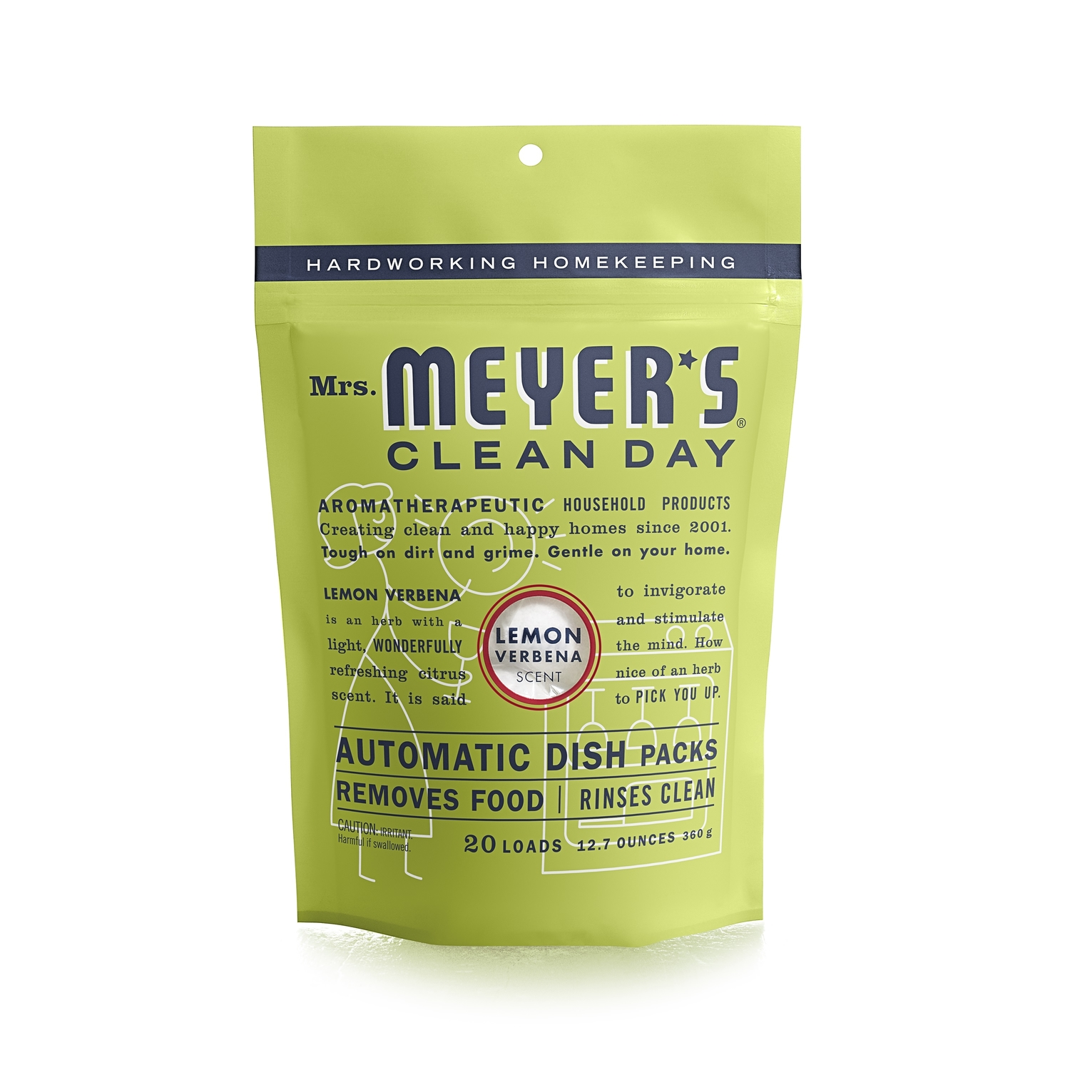 Mrs. Meyer's  Lemon Verbena Scent Powder  Dishwasher Detergent  12.7 oz. 20 pk