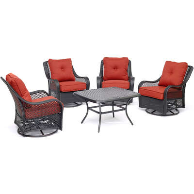 Hanover Orleans 5 pc. Chocolate Brown Resin Autumn Patio Set Berry