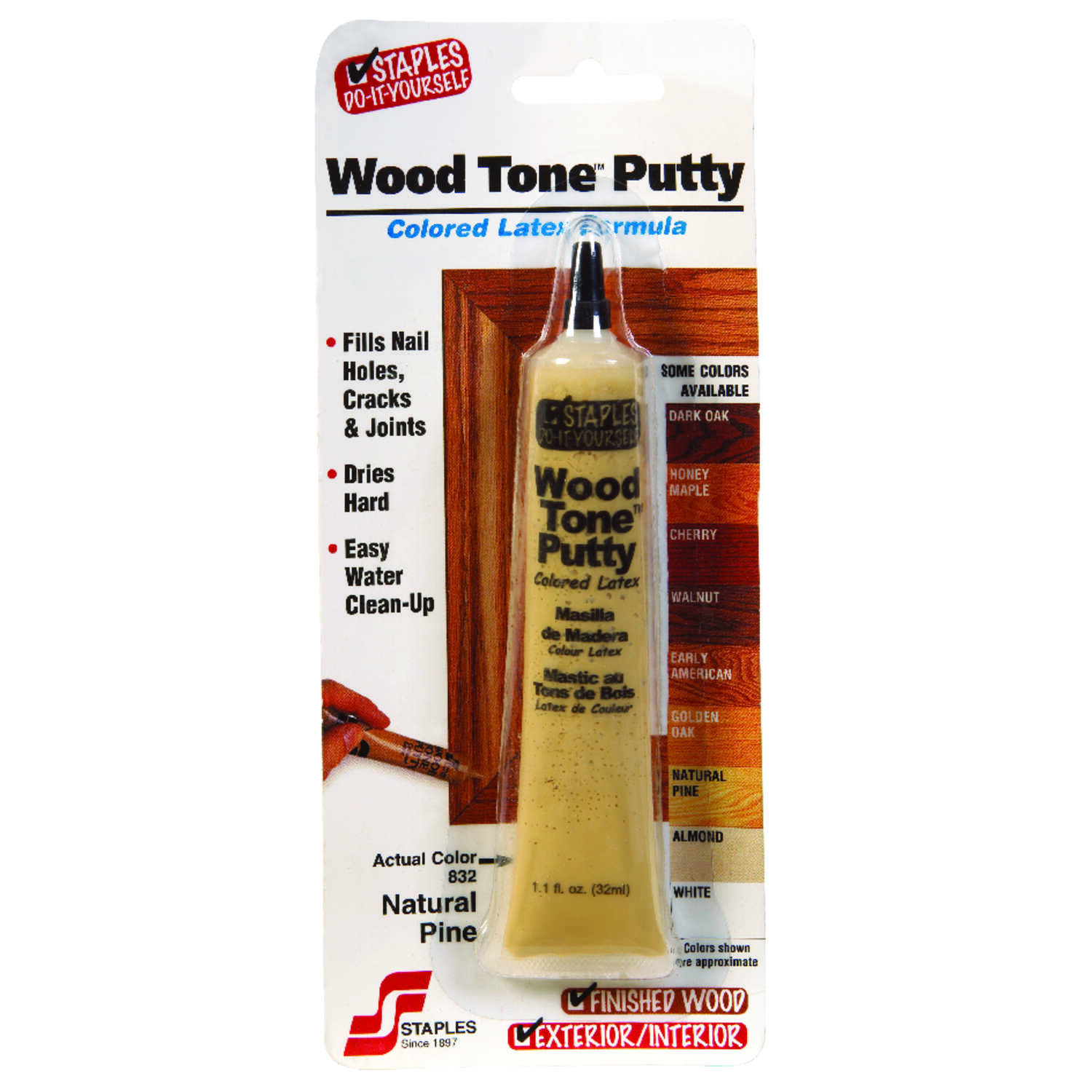 Staples  Wood Tone  Natural Pine / Butternut  Wood Putty  1.05 oz.