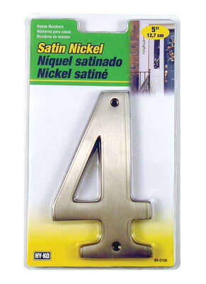 Hy-Ko 5 in. Silver Metal Nail-On Number 4 1 pc.