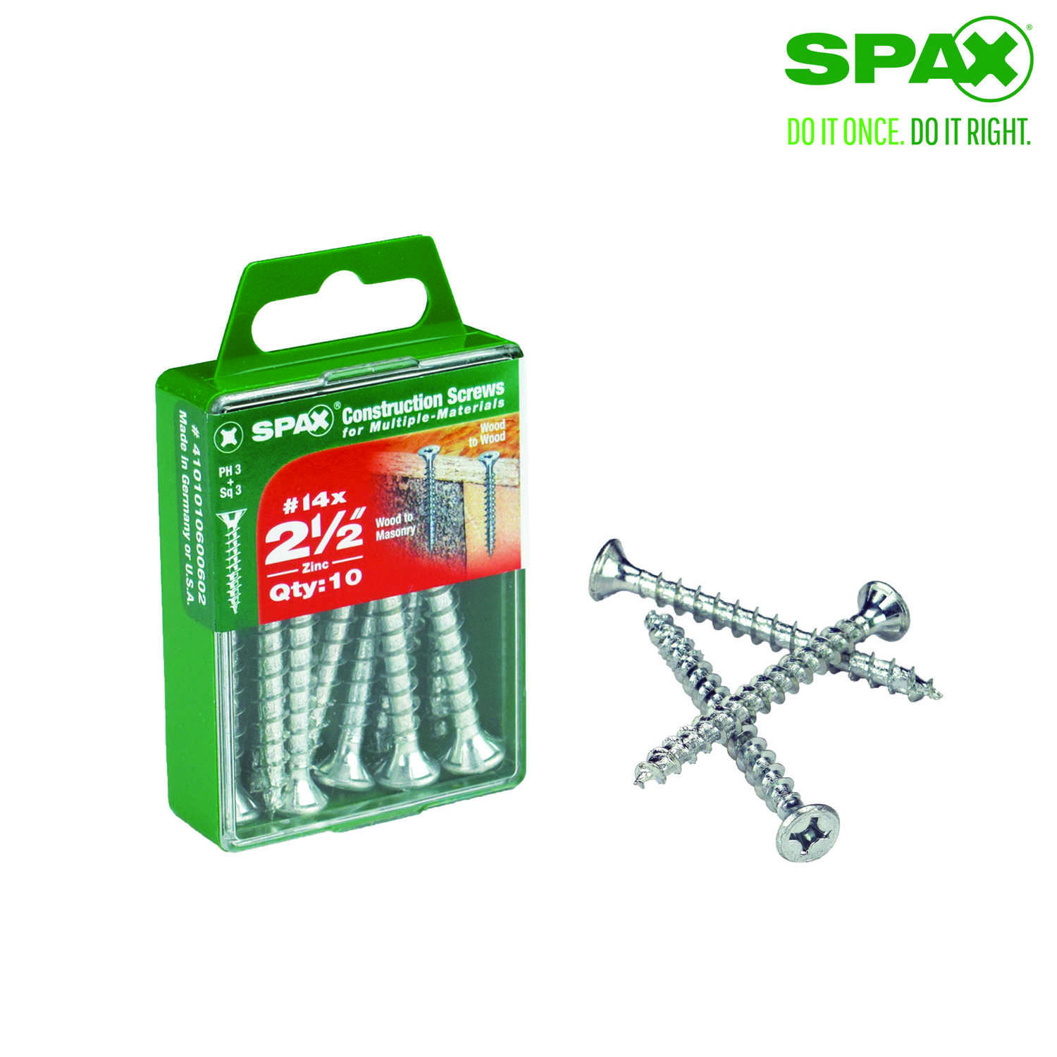 SPAX  No. 14   x 2-1/2 in. L Phillips/Square  Flat  Zinc-Plated  Steel  Multi-Purpose Screw  10 each