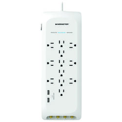 Monster  Just Power It Up  6 ft. L 12 outlets Power Strip w/Surge Protection  White