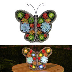 Alpine Polyresin Multi-color 11 in. Butterfly with Flowers Statue