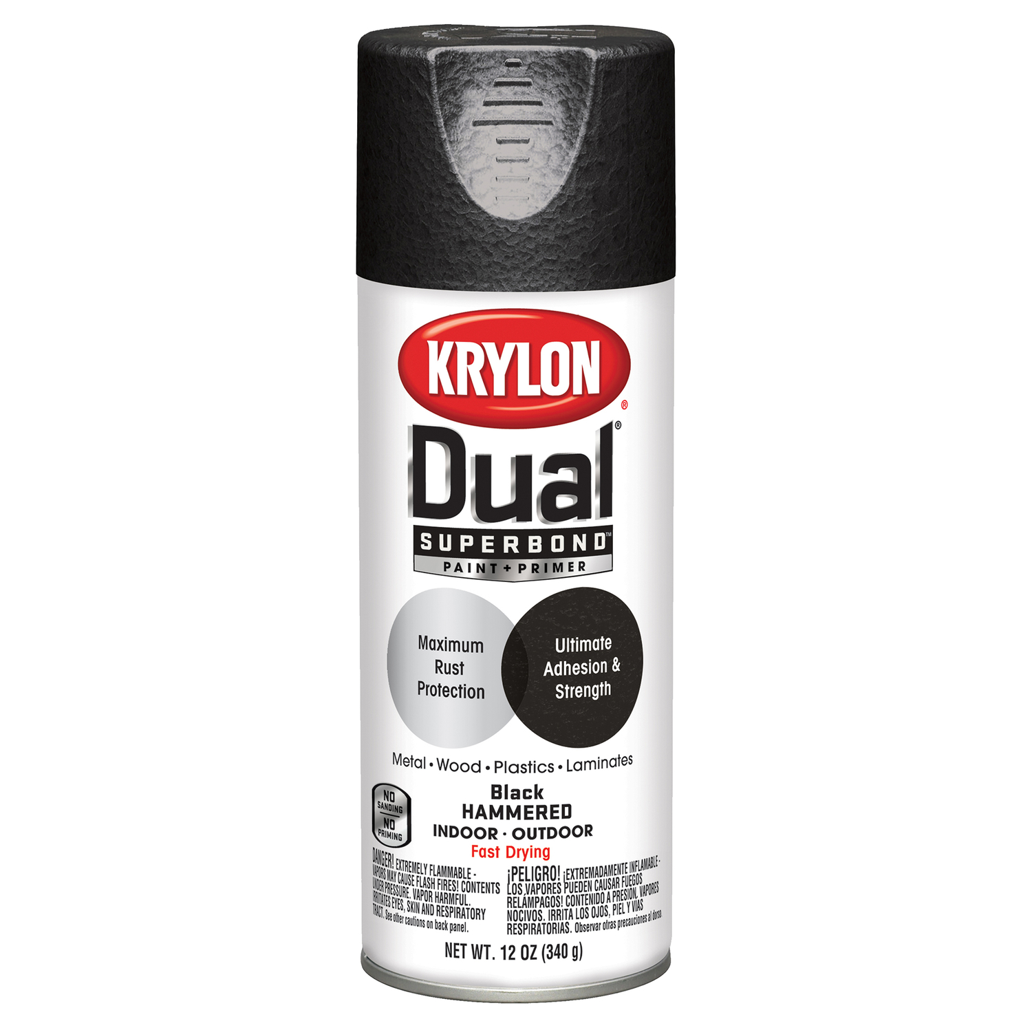 Krylon  Dual Superbond  Hammered  Black  Paint + Primer Spray  12 oz.