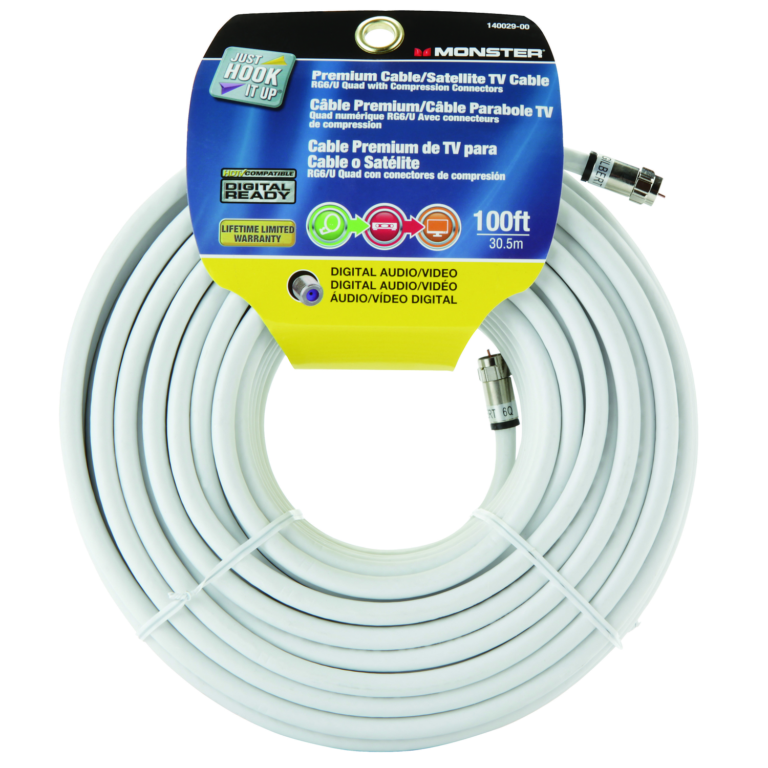 Monster Cable  Just Hook it Up  Weatherproof Video Coaxial Cable