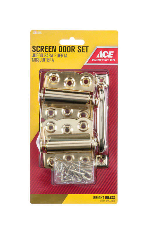 Ace  Bright Brass  Steel  Screen/Storm Door Hardware Set  2 pk