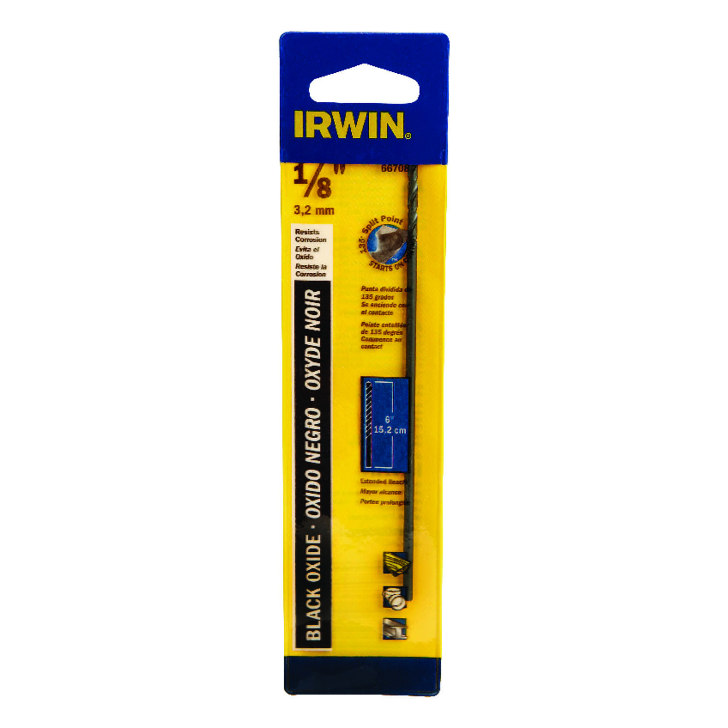 Irwin 1/8 in. x 6 in. L High Speed Steel Split Point Drill Bit 1 pc.