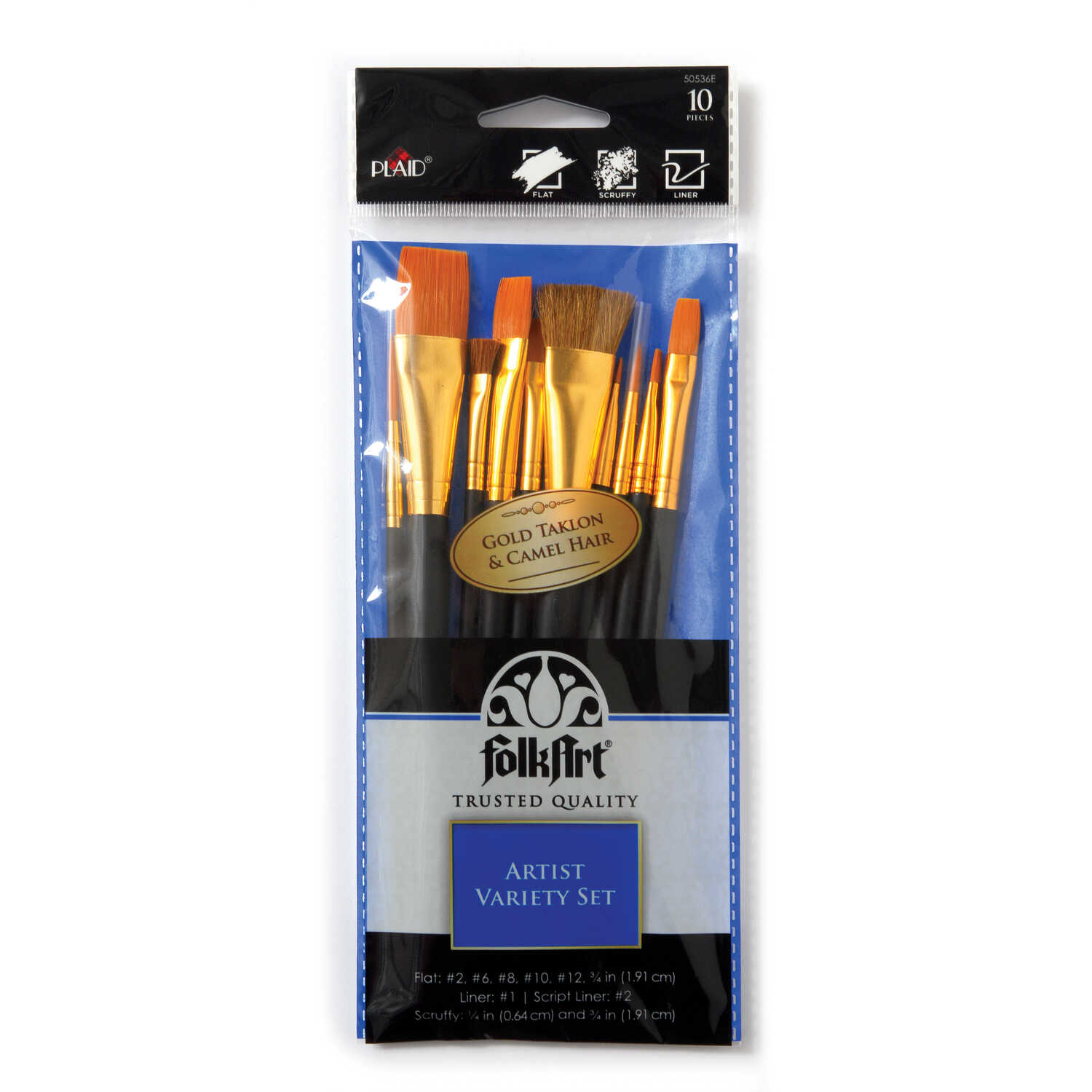 Plaid  FolkArt  Multiple Sizes in. W Flat  Taklon Bristle  Paint Brush Set