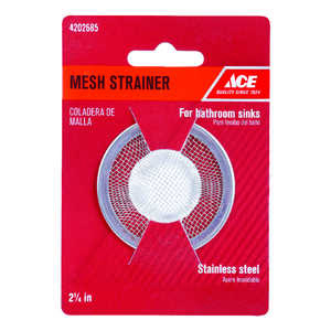 Ace  2-1/4 in. Dia. Mesh Strainer  Stainless Steel