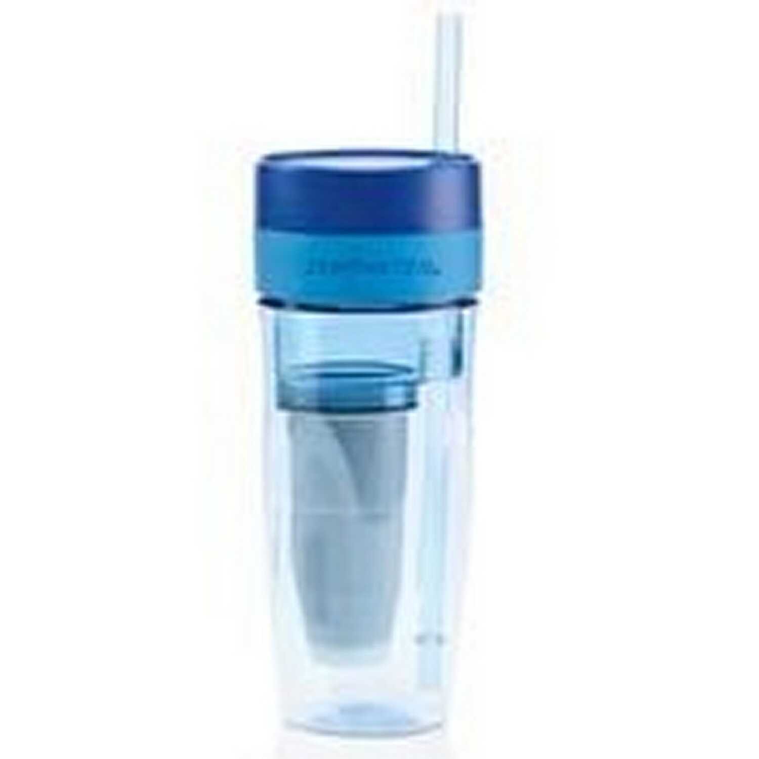 Zerowater  Blue  Plastic  ION Exchange  Filtered Water Bottle  BPA Free 26 oz.