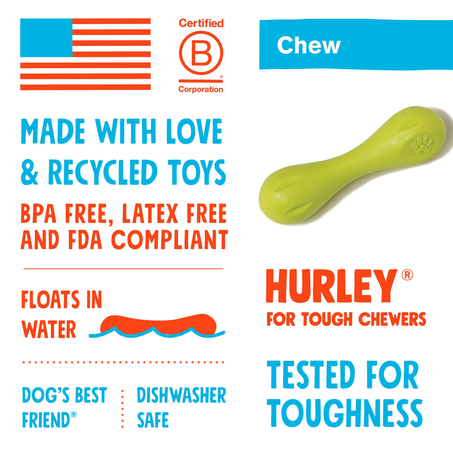 West Paw  Zogoflex  Orange  Hurley Bone  Chew Dog Toy  Large  Synthetic Rubber