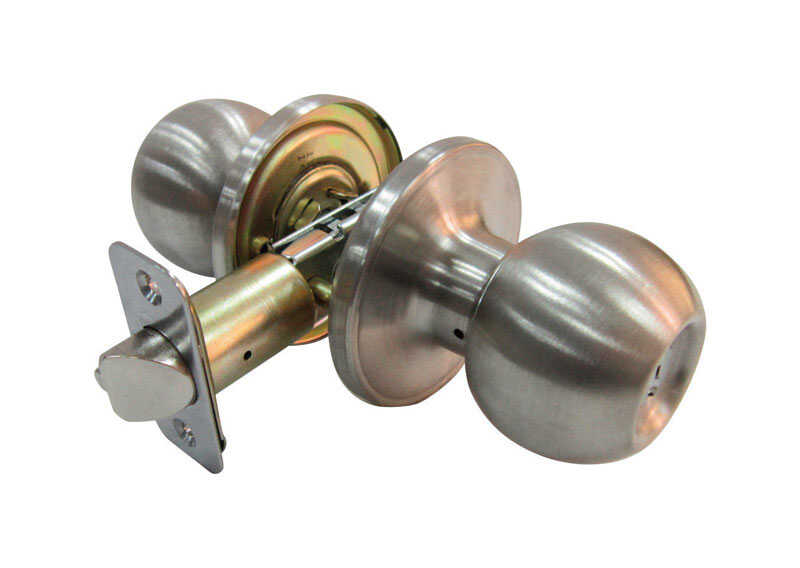Faultless  Ball  Satin Stainless Steel  Metal  Entry Knobs  3 Grade Right Handed