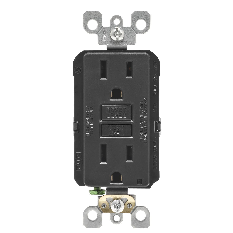 Leviton Smartlockpro 15 Amps 125 Volt Duplex Black Gfci Outlet 5-15r 1 Pk