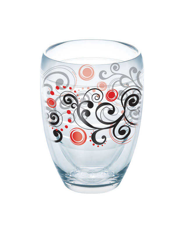 Tervis  Clear  Tritan  Berry Swirlwind  Stemless Wine Glass  BPA Free 9 oz.