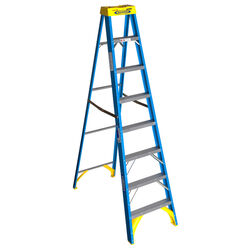 Werner 8 ft. H x 25 in. W Fiberglass Step Ladder Type I 250 lb. capacity