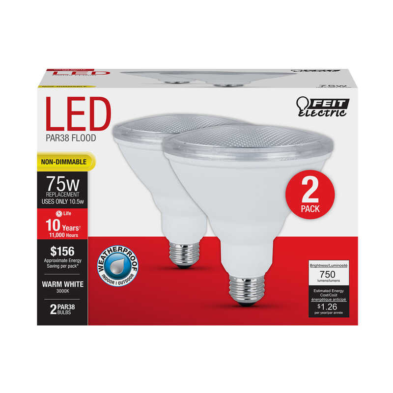 FEIT Electric  10.5 watts PAR38  LED Bulb  750 lumens Warm White  Floodlight  75 Watt Equivalence