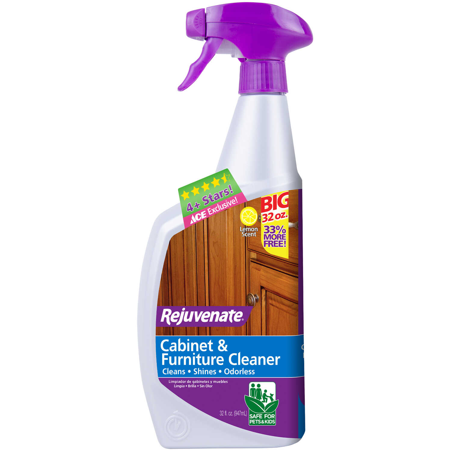 Rejuvenate  Lemon Scent Cabinet and Wood Cleaner  32 oz. Liquid