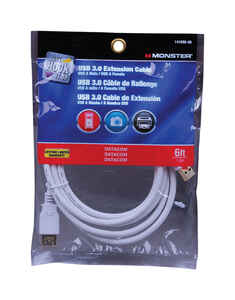Monster Cable  Hook It Up  6 ft. L USB Cable Extensions