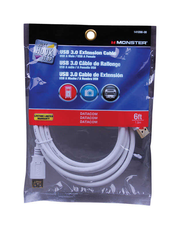 Monster Cable  Just Hook It Up  6 ft. L USB Cable Extensions