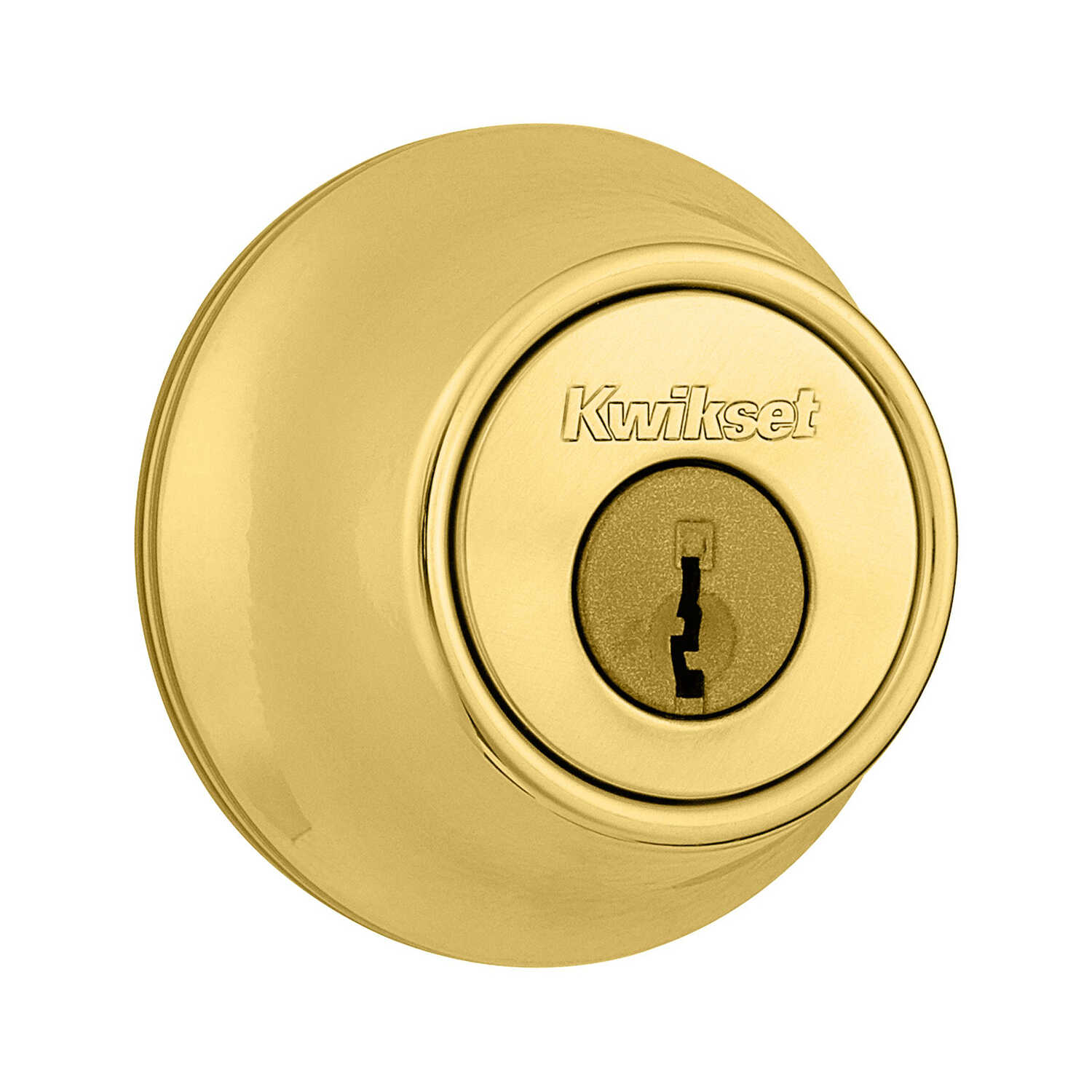 Kwikset  Polished Brass  Metal  Deadbolt