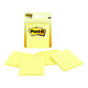 Post-It  3 in. W x 3 in. L Yellow  Sticky Notes  4