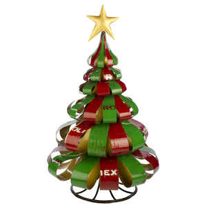 Think Outside  Ribbon  Christmas Tree  Red / Green  Metal  34.7  1 pk