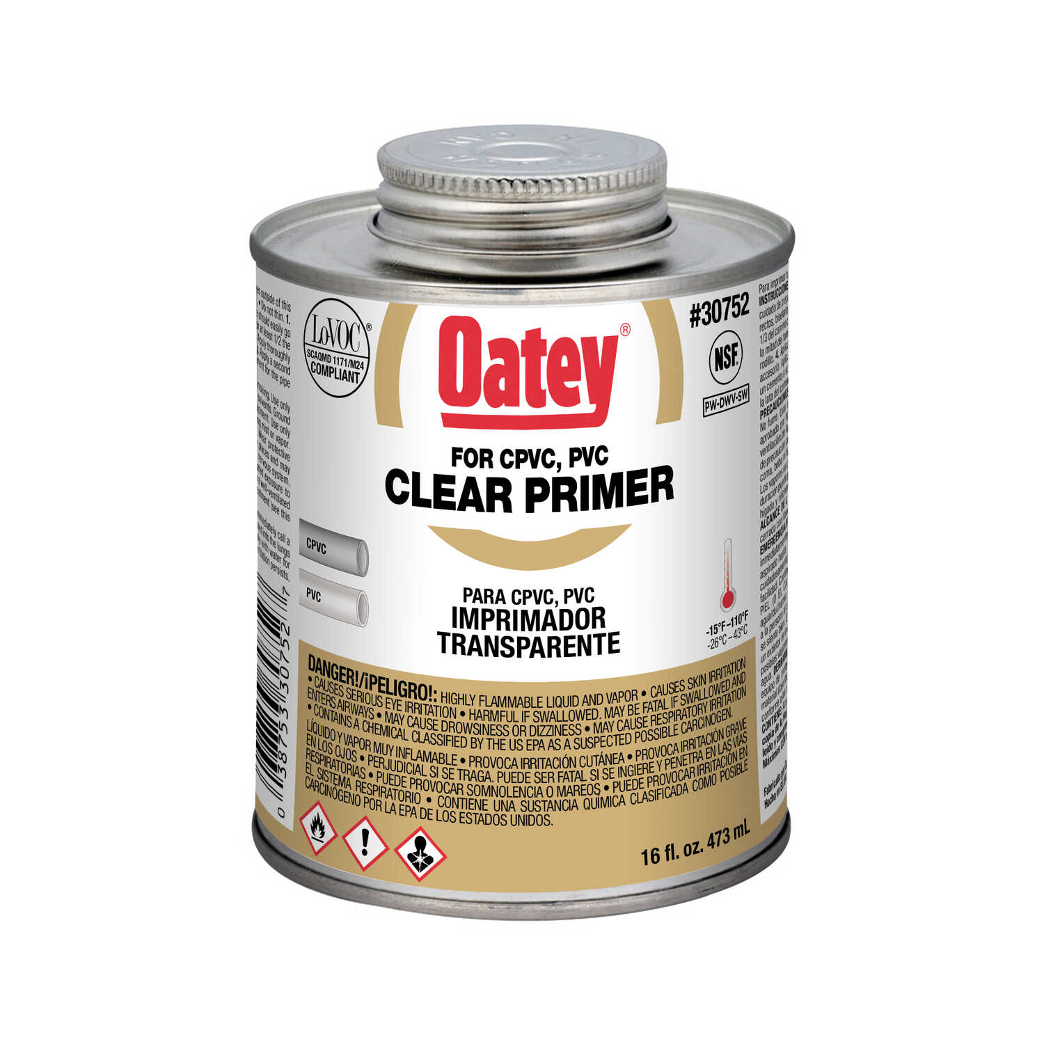 Oatey  Primer and Cement  For CPVC/PVC 16 oz. Clear