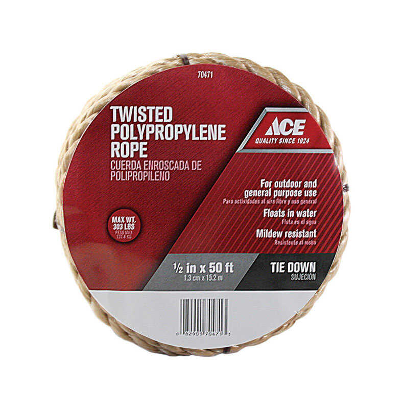 Ace  1/2 in. Dia. x 50 ft. L Brown  Poly  Rope  Twisted