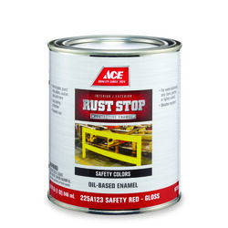 Ace  Rust Stop  Indoor and Outdoor  Gloss  Safety Red  Rust Prevention Paint  1 qt.