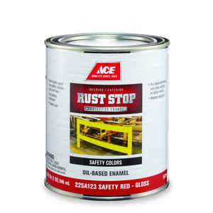 Ace  Rust Stop  Indoor and Outdoor  Interior/Exterior  Safety Red  Rust Prevention Paint  1 qt. Glos