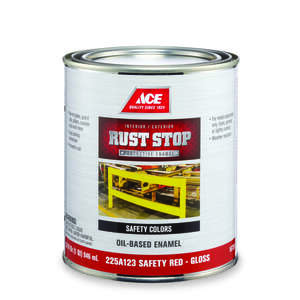 Ace  Rust Stop  Indoor and Outdoor  Gloss  Safety Red  Interior/Exterior  1 qt. Rust Prevention Pain