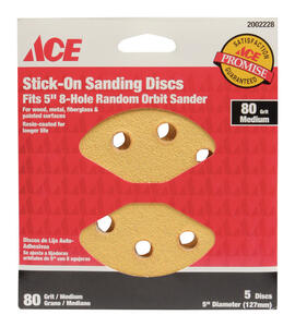 Ace  5 in. Aluminum Oxide  Adhesive  Sanding Disc  80 Grit Medium  5 pk