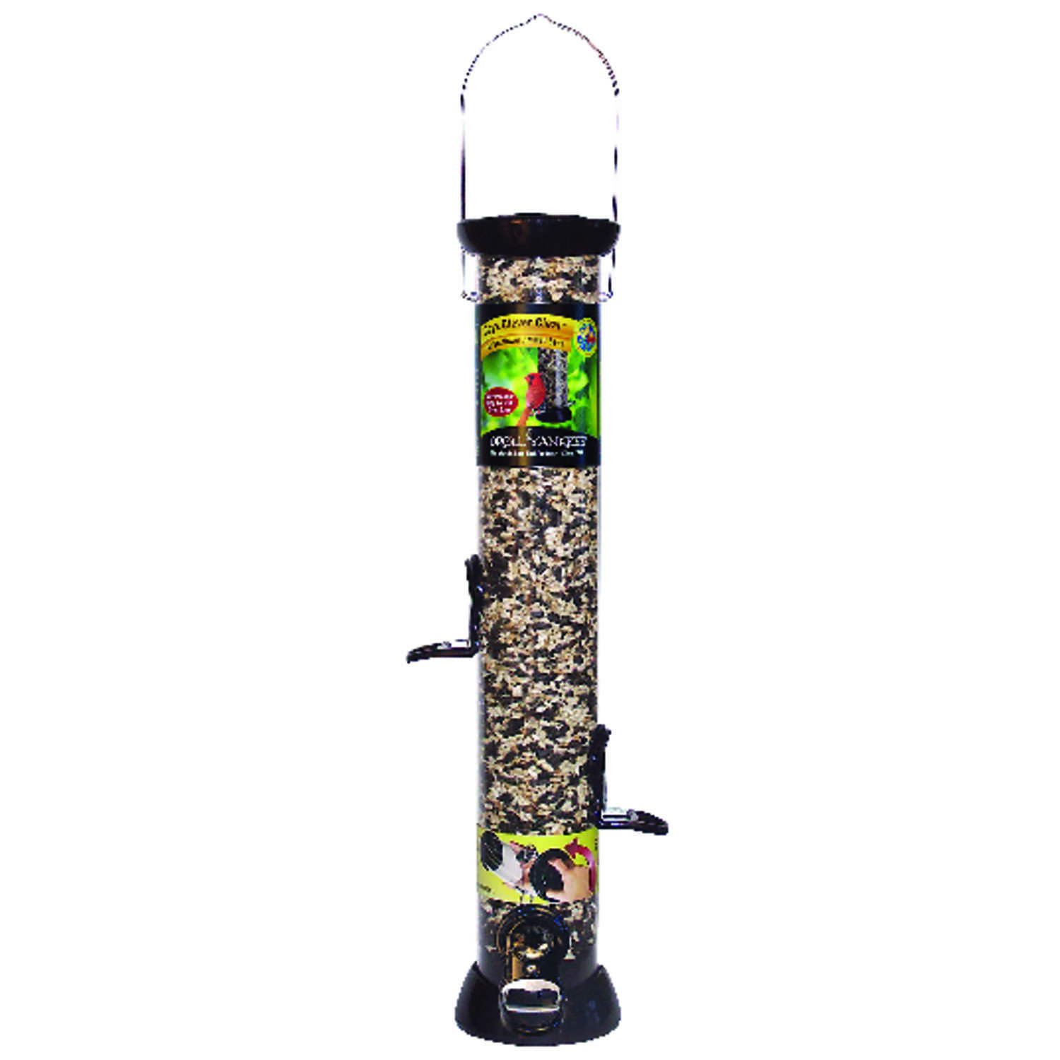 Droll Yankees  Onyx Clever Clean  Wild Bird  2 lb. capacity Metal  Tube  Bird Feeder  4 ports